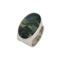 chunky ring with moss agate